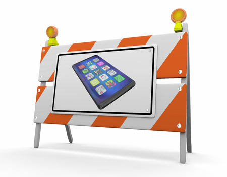 New Smart Phone Cell Construction Barrier Sign 3d Illustration