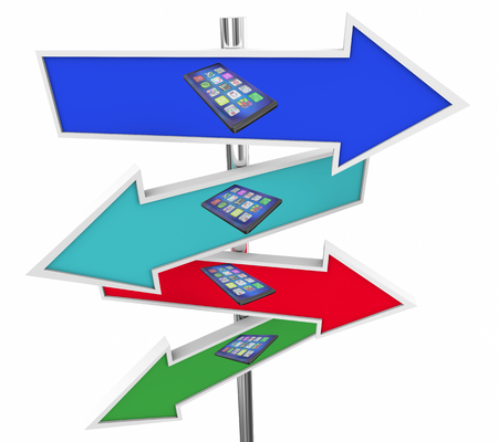 New Smart Phone Cell Device Arrow Signs Choices 3d Illustration