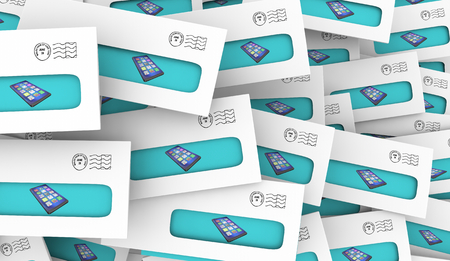 New Smart Phone Cell Direct Mail Special Offer Envelopes 3d Illustration
