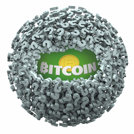 Bitcoin Cryptocurrency Digital Blockchain Money Questions Answers FAQs 3d Illustration
