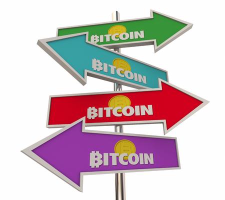 Bitcoin Cryptocurrency Digital Money Arrow Signs 3d Illustration