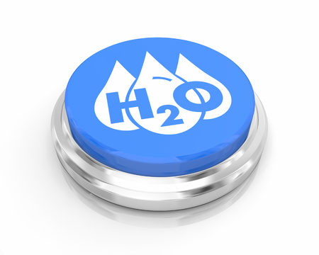 Water H20 Drinkable Clean Resource Round Blue Button 3d Illustration