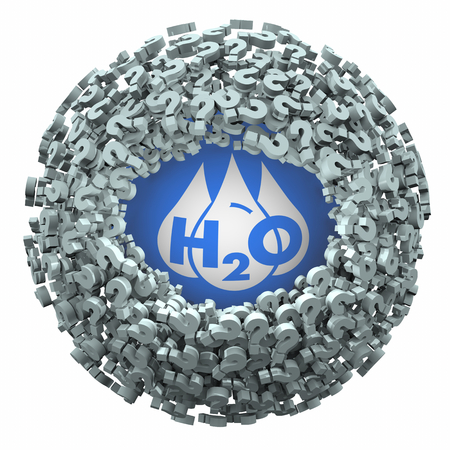 Water H20 Drinkable Clean Resource Question Marks Find Answers 3d Illustration