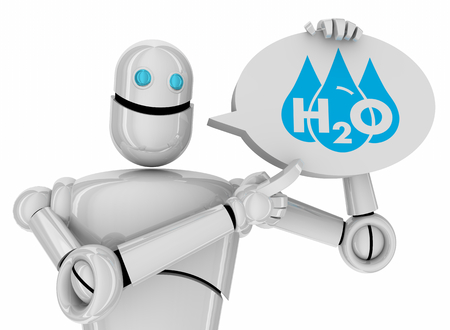 Water H20 Drinkable Clean Resource Robot Speech Bubble Technology 3d Illustration 写真素材