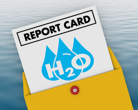 Water H20 Drinkable Clean Resource Report Card Grade Score 3d Illustration