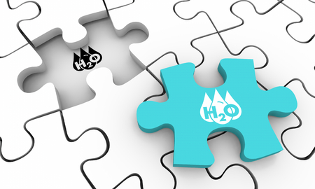 Water H20 Drinkable Clean Resource Puzzle Piece Solve Solution 3d Illustration Stok Fotoğraf