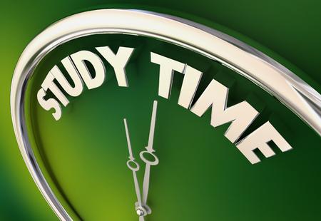 Study Time Prepare Get Ready Homework Test Clock 3d Illustration