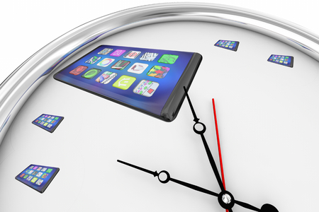 New Smart Phone Cell Clock Time to Upgrade Update 3d Illustration