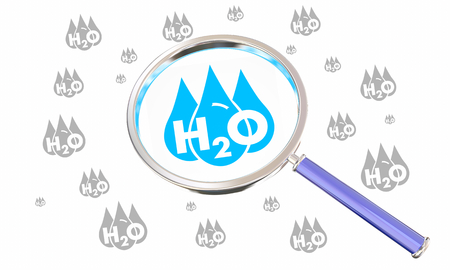 Water H20 Drinkable Clean Resource Magnifying Glass Find Search 3d Illustration Фото со стока