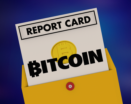 Bitcoin Cryptocurrency Digital Blockchain Money Report Card Score Grade 3d Illustration