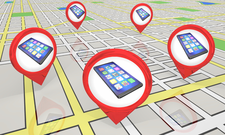 New Smart Phone Cell Store Locations Map Pins 3d Illustration Stock Illustration - 124715978