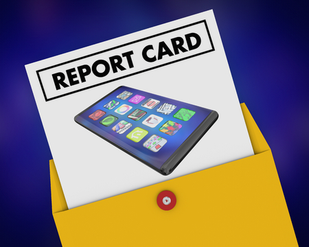 Cell Phone New Smart Device Report Card Top Score Best Grade Review 3d Illustration