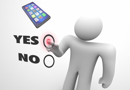 Cell Phone New Smart Device Choose Vote Favorite Pick Choice Yes No 3d Illustration