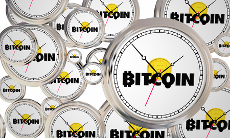 Bitcoin Cryptocurrency Digital Money Clocks Time Limited Special Deal 3d Illustration