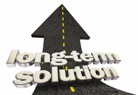 Long-Term Solution Solve Problem For Good Road Arrow Up Word 3d Illustration 写真素材