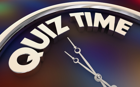 Quiz Time Study Take Test Words Clock 3d Illustration