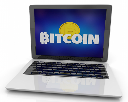Bitcoin Cryptocurrency Digital Money Computer Laptop Website eCommerce 3d Illustration