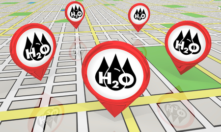 Water H20 Drinkable Clean Resource Map Pins Locations 3d Illustration