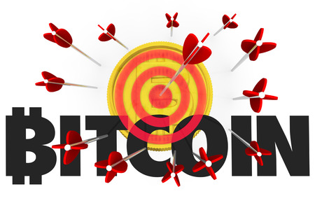 Bitcoin Cryptocurrency Digital Money Bow Arrow Bullseye Target 3d Illustration