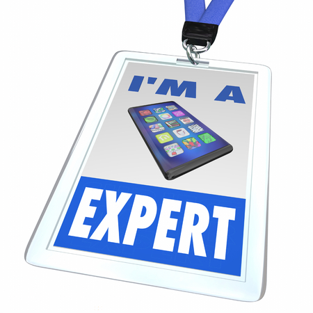 New Smart Phone Cell Store Employee Badge Expert 3d Illustration