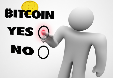 Bitcoin Cryptocurrency Digital Blockchain Money Choose Yes or No 3d Illustration