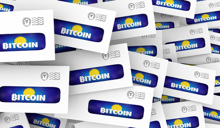 Bitcoin Cryptocurrency Digital Money Envelopes Direct Mail Offer 3d Illustration