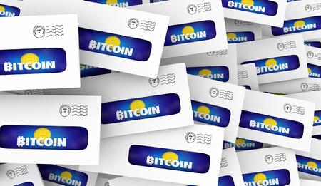 Bitcoin Cryptocurrency Digital Money Envelopes Direct Mail Offer 3d Illustration