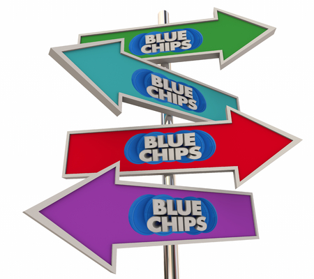 Blue Chips Top Priority Company Goal Arrow Signs 3d Illustration