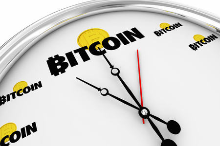 Bitcoin Cryptocurrency Digital Money Time Clock Buy Now 3d Illustration