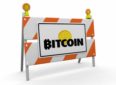 Bitcoin Cryptocurrency Digital Money Construction Barricade Sign 3d Illustration