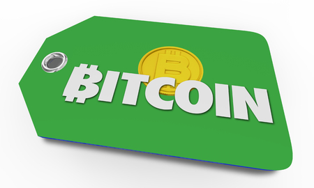 Bitcoin Cryptocurrency Digital Blockchain Money Price Tag Shopping 3d Illustration