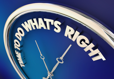 Time to Do Whats Right Moral Ethical Choice Clock 3d Illustration Stok Fotoğraf