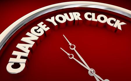 Change Your Clock Set Move Forward Back Time 3d Illustration Фото со стока