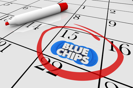 Blue Chips Top Priority Company Goal Calendar Date Circled Reminder 3d Illustration