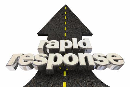 Rapid Response Fast Service Road Arrow Up Words 3d Illustration