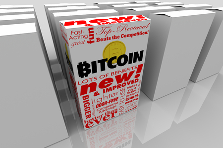 Bitcoin Cryptocurrency Digital Blockchain Money Package Box Product 3d Illustration