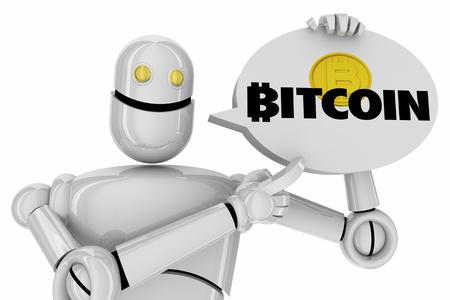 Bitcoin Cryptocurrency Digital Blockchain Money Robot Android AI 3d Illustration