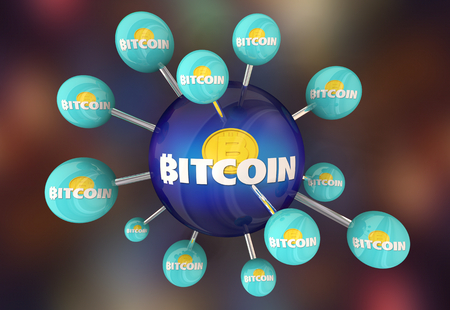 Bitcoin Cryptocurrency Digital Money Network Secure Connections 3d Illustration Zdjęcie Seryjne