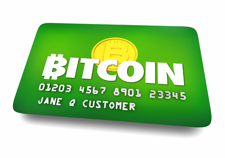 Bitcoin Cryptocurrency Digital Money Credit Card Buy Purchase Securely 3d Illustration Zdjęcie Seryjne