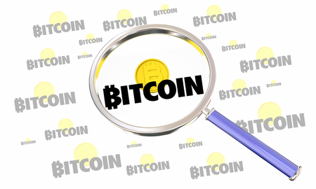 Bitcoin Cryptocurrency Digital Money Magnifying Glass Search Find 3d Illustration