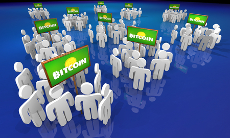 Bitcoin Cryptocurrency Digital Blockchain Money People Groups Signs 3d Illustration