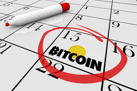 Bitcoin Cryptocurrency Digital Money Calendar Day Date Circled 3d Illustration