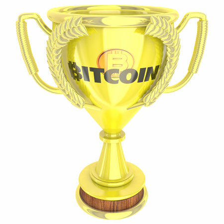 Bitcoin Cryptocurrency Digital Blockchain Money Best Trophy Award Top Choice 3d Illustration 版權商用圖片