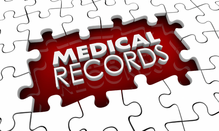 Medical Records History Puzzle Pieces Hole Gap 3d Illustration Imagens