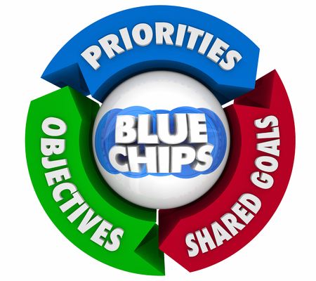 Blue Chips Top Priority Company Goal Arrows Cycle 3d Illustration