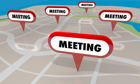 Meeting Conference Sessions Map Pins Locations 3d Illustration Stok Fotoğraf - 124716149