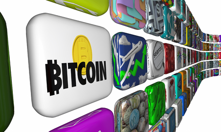 Bitcoin Cryptocurrency Digital Money Apps Software Download Application 3d Illustration