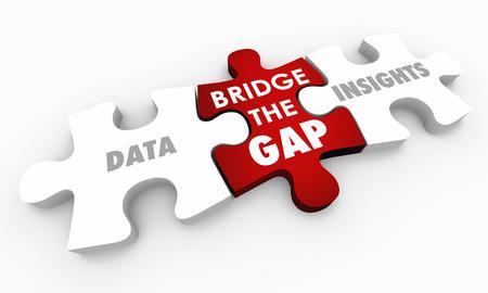 Data Insights Intelligence Bridge Gap Puzzleteile Wörter 3D-Darstellung