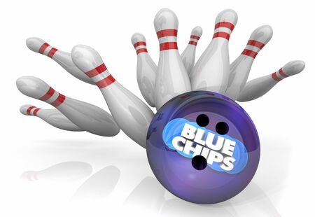 Blue Chips Top Priority Company Goal Bowling Ball Strike Pins 3d Illustration 版權商用圖片