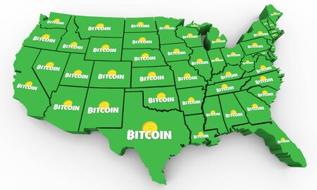 Bitcoin Cryptocurrency Digital Blockchain Money United States America USA Map 3d Illustration